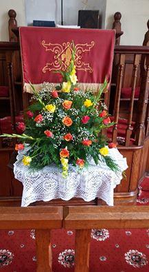 Flowers in Clydach Church
